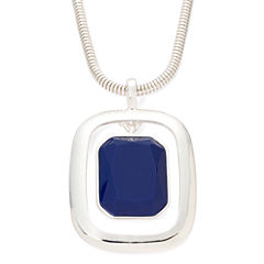 Liz Claiborne® Blue Stone Silver-Tone Pendant Necklace