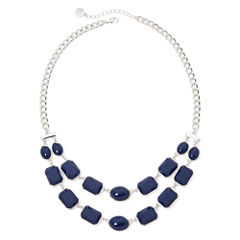 Liz Claiborne® Blue Stone Silver-Tone 2-Row Necklace