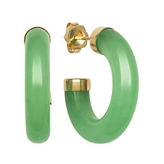 Genuine Jade 14K Yellow Gold Hoop Earrings