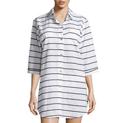 a.n.a Stripe Swimsuit Cover-Up Dress