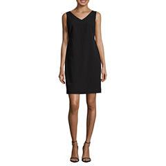 Worthington Sleeveless V-Neck Sheath Dress-Petites