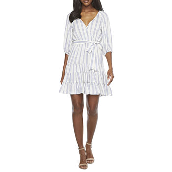 Danny & Nicole 3/4 Sleeve Striped Wrap Dress with Coordinating Face Mask