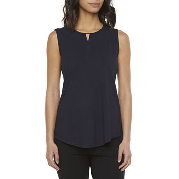 Liz Claiborne Womens Keyhole Neck Sleeveless Blouse