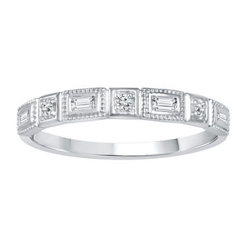 Womens 1/8 CT. T.W. Genuine White Diamond 10K White Gold Wedding Stackable Ring