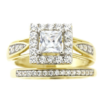 Womens White Cubic Zirconia 14K Gold Over Silver Bridal Set