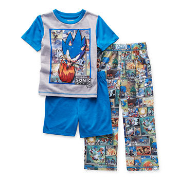 Little & Big Boys 3-pc. Sonic the Hedgehog Pajama Set