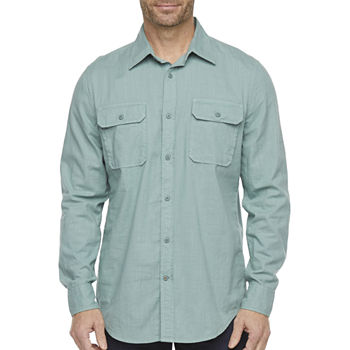 St. John's Bay Outdoor Mens Long Sleeve Button-Down Shirt
