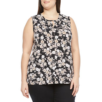 Liz Claiborne-Plus Womens Keyhole Neck Sleeveless Blouse