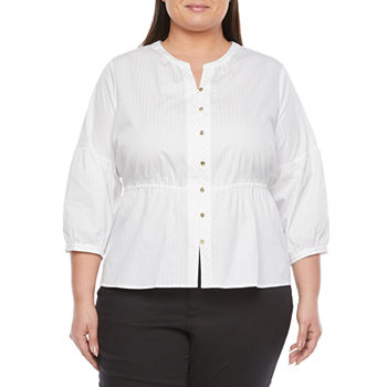 Liz Claiborne-Plus Womens 3/4 Sleeve Regular Fit Button-Down Shirt