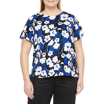 Liz Claiborne-Plus Womens Boat Neck Short Sleeve Blouse
