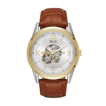 Relic By Fossil Mens Automatic Brown Strap Watch-Zr77280
