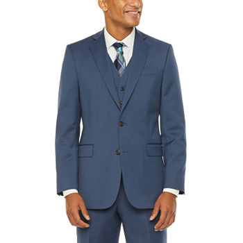 Stafford Super Blue Birdseye Classic Fit Suit Separates - Big and Tall