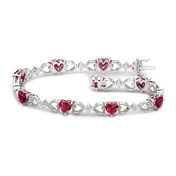 Lab Created Red Ruby Sterling Silver Heart 7.25 Inch Tennis Bracelet