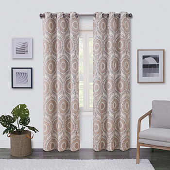 Regal Home Surfaces Medallion Light-Filtering Grommet-Top Single Curtain Panel