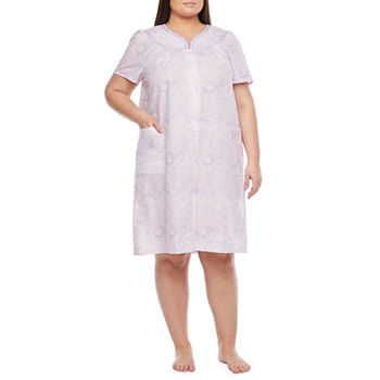 Lissome Womens-Plus Robe Short Sleeve Knee Length