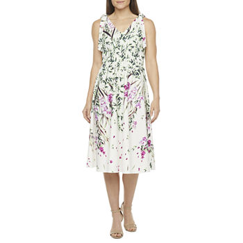 Melonie T Sleeveless Floral Fit & Flare Dress with Coordinating Face Mask
