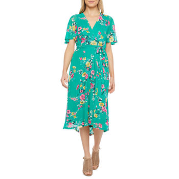 Studio 1 Short Sleeve Floral High-Low Fit & Flare Dress