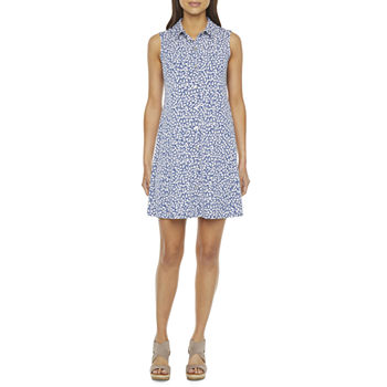MSK Sleeveless Puff Print Shirt Dress