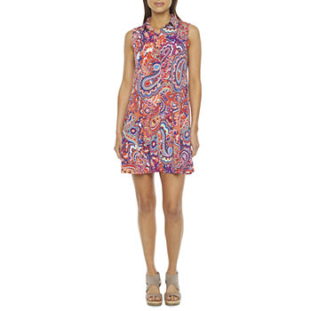 MSK Sleeveless Paisley Puff Print Shirt Dress