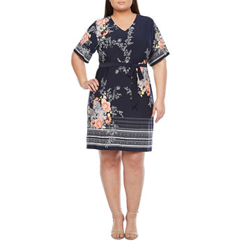 Studio 1-Plus Short Sleeve Floral Puff Print Shift Dress