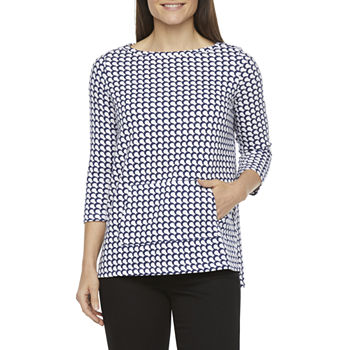 Liz Claiborne Womens Boat Neck 3/4 Sleeve Tunic Top