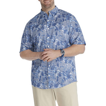 IZOD Big and Tall Mens Short Sleeve Cooling Moisture Wicking Leaf Button-Down Shirt