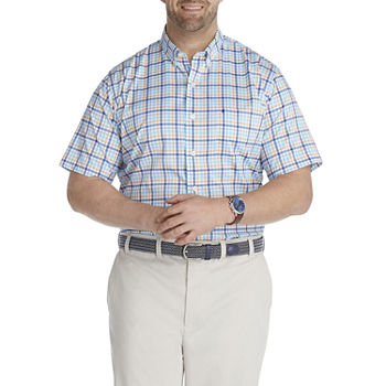 IZOD Big and Tall Mens Short Sleeve Cooling Moisture Wicking Gingham Button-Down Shirt
