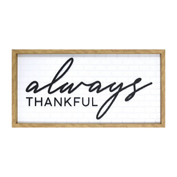 12x24 Always Thankful Wall Sign