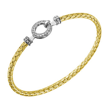 Paris 1901 By Charles Garnier White Cubic Zirconia 18K Gold Over Silver Bangle Bracelet