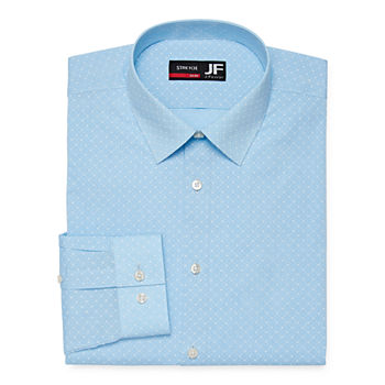 JF J.Ferrar Mens Easy-Care Spread Collar Long Sleeve Stretch Slim Fit Dress Shirt