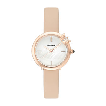 Armitron Womens Crystal Accent Pink Leather Strap Watch-75/5752mprgbh