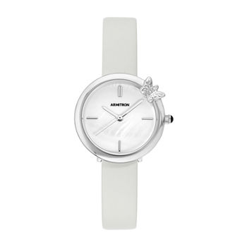 Armitron Womens Crystal Accent Gray Leather Strap Watch-75/5752mpsvgy