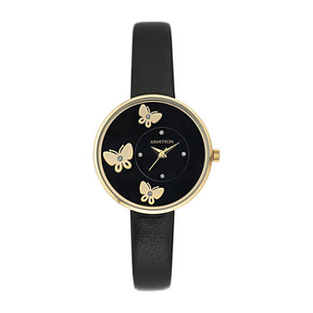 Armitron Armitron Womens Black Leather Strap Watch-75/5753bkgpbk