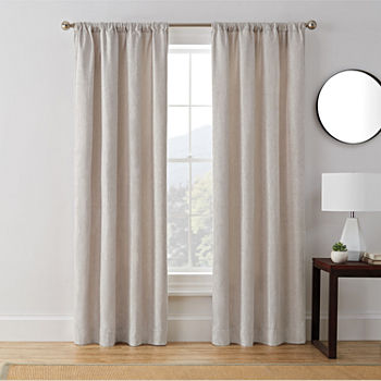 Brookstone Troy Draft Blocker Energy Saving Light-Filtering Rod-Pocket Single Curtain Panel