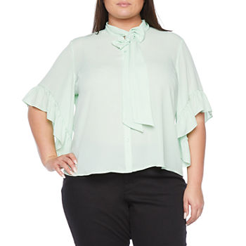 Worthington Womens Tie Neck Ruffle Sleeve Blouse - Plus