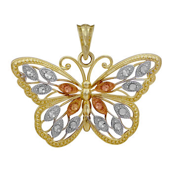 10K Tri-Tone Gold Butterfly Pendant