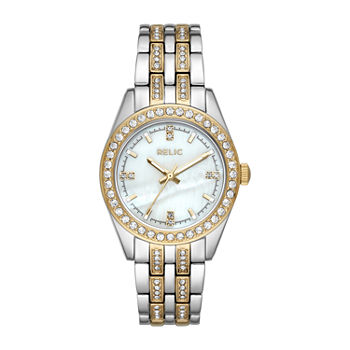 Relic By Fossil Iva Womens Crystal Accent Two Tone Bracelet Watch - Zr34536