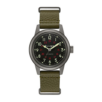 Bulova Classic Mens Green Leather Strap Watch-98a255