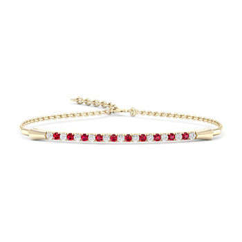 1/8 CT. T.W. Lead Glass-Filled Red Ruby 10K Gold Tennis Bracelet