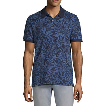St. John's Bay Premium Stretch Novelty Print Mens Short Sleeve Polo Shirt