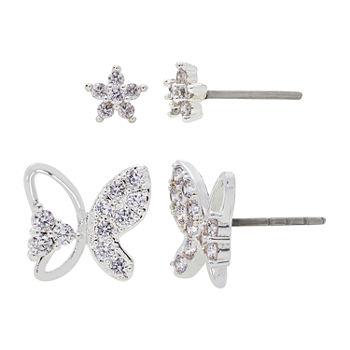 Sparkle Allure 2 Pair Cubic Zirconia Butterfly Earring Set