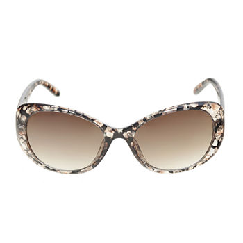 a.n.a Plastic Oval  With Clean Metal Trim Womens Sunglasses