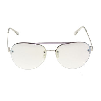 Worthington Crystal Clear Metal Aviator Womens Sunglasses