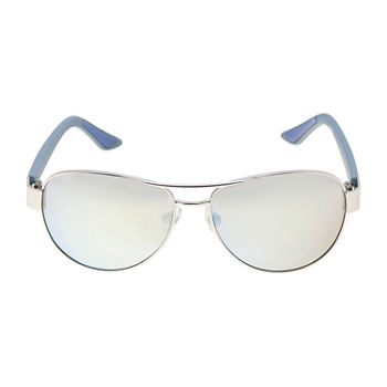 Xersion Silver Metal Aviator With Blue Mirror Lens Womens Sunglasses