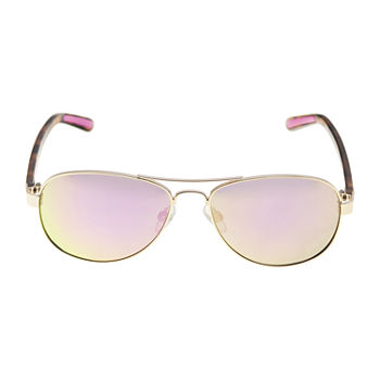Xersion Gold With Pink Mirror Lens Aviator Womens Sunglasses