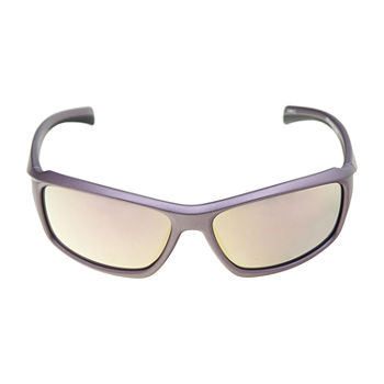 Xersion Plastic Matte Wrap With Pink Mirror Lens Womens Sunglasses