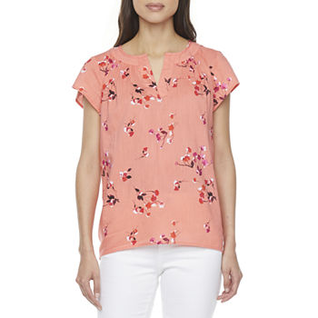 St. John's Bay-Tall Womens Split Crew Neck Short Sleeve Blouse