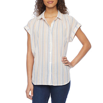 a.n.a Womens Short Sleeve Regular Fit Button-Down Shirt