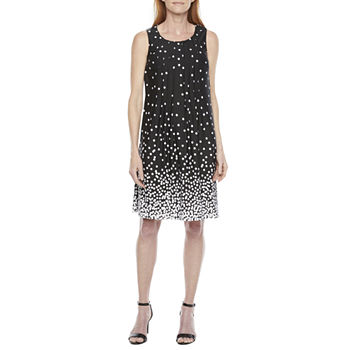 Perceptions Sleeveless Dots Shift Dress