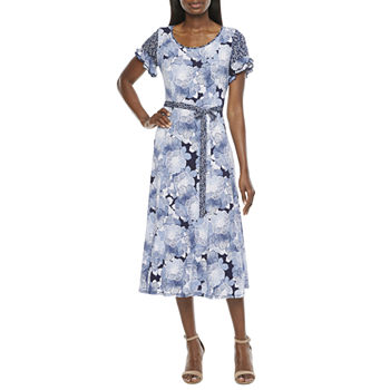 Perceptions Short Sleeve Floral Midi Fit & Flare Dress